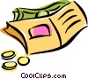 Vector Clipart graphic  of a wallet with money