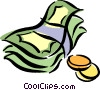 Vector Clip Art picture  of a dollar bills and coins