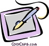 Vector Clip Art graphic  of a graphics tablet and computer