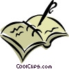 Vector Clip Art picture  of a fountain pen with record book