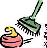 curling rock and broom Vector Clip Art graphic