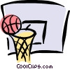 Vector Clip Art graphic  of a basketball and hoop