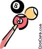 Vector Clipart image  of a pool balls and pool cue