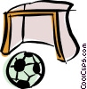 Vector Clip Art graphic  of a soccer ball and net