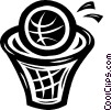 basketball and hoop Vector Clip Art graphic