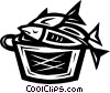 Vector Clipart illustration  of a basket of fish