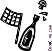 Vector Clip Art graphic  of a bottle of champagne and