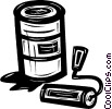Vector Clip Art graphic  of a paint can and roller