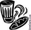 Vector Clip Art graphic  of a glass and a loaf of bread