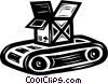 Vector Clip Art graphic  of a conveyor belt with a shipping