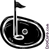 golf ball on the green near the pin Vector Clipart picture