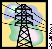 Vector Clip Art image  of a Power lines