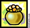 Vector Clip Art image  of a pot of gold