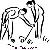 Vector Clipart graphic  of a couple golfing