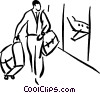 man in airport Vector Clip Art graphic