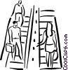 Vector Clipart image  of a people on escalator