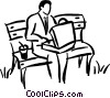 having lunch in the park Vector Clip Art picture