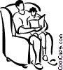 Vector Clip Art image  of a parent reading to child
