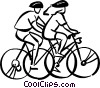 Vector Clipart picture  of a people going for a bike ride