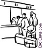 waiting in line at the airport Vector Clipart illustration