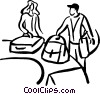 Vector Clipart image  of a people picking up their