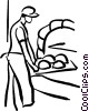 Vector Clip Art graphic  of a baker putting bread in oven
