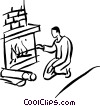Vector Clip Art image  of a man at the fireplace