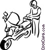 Vector Clip Art image  of a person and their scooter
