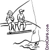 children fishing Vector Clip Art picture