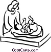 Vector Clipart graphic  of a mother and baby