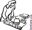 Vector Clip Art graphic  of a woman wrapping a gift/present