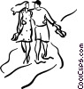 Vector Clipart picture  of a couple walking along the beach