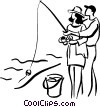 Vector Clip Art graphic  of a couple fishing