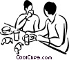 couple having breakfast Vector Clipart image