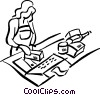 Vector Clipart graphic  of a grocery clerk