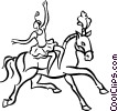 Vector Clipart graphic  of a woman on a horse