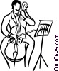 person playing the cello Vector Clip Art graphic