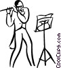 Vector Clip Art picture  of a man playing the flute