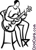 guitar player Vector Clipart graphic