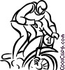 Vector Clipart image  of a person riding a dirt bike