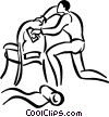 Vector Clip Art graphic  of a person reupholstering a  chair