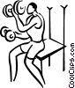 Vector Clip Art image  of a person lifting weights