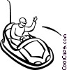 Vector Clipart graphic  of a person riding the bumper cars