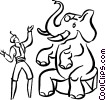 Vector Clip Art image  of a elephant circus act