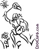 Vector Clipart illustration  of a girl chasing butterflies