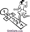 Vector Clip Art graphic  of a girl playing hopscotch