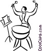 Vector Clip Art graphic  of a drummer