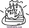 Vector Clip Art graphic  of a birthday cake