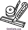 knife, ruler and tape Vector Clipart illustration