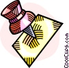 Vector Clipart image  of a pushpin and paper